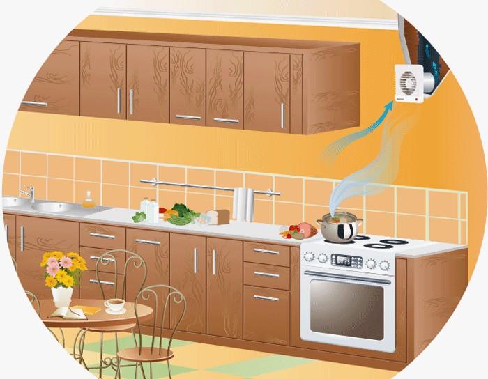 Вентилятор вентиляции на кухне