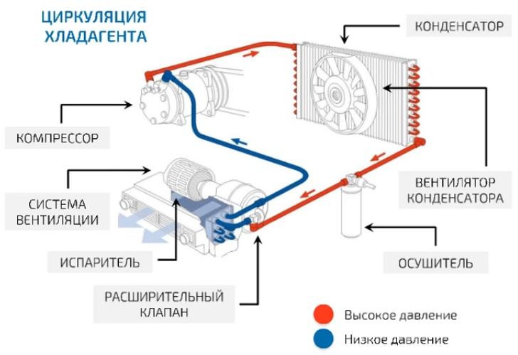 Схема циркуляции фреона