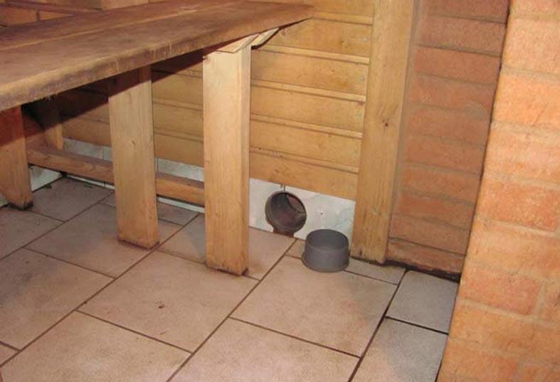 Пример вентиляции в бане возле пола
